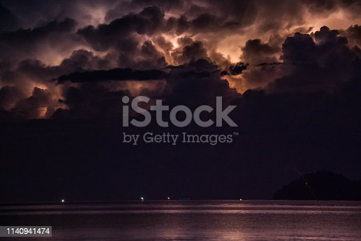 istock Lightning view by the shore during night time 1140941474