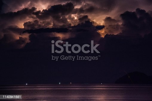 istock Lightning view by the shore during night time 1140941551
