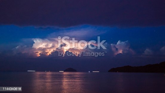 1144340539 istock photo Lightning view by the shore during night time 1144340518