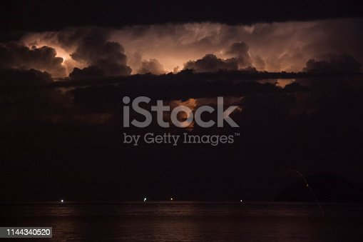 1155214300istockphoto Lightning view by the shore during night time 1144340520