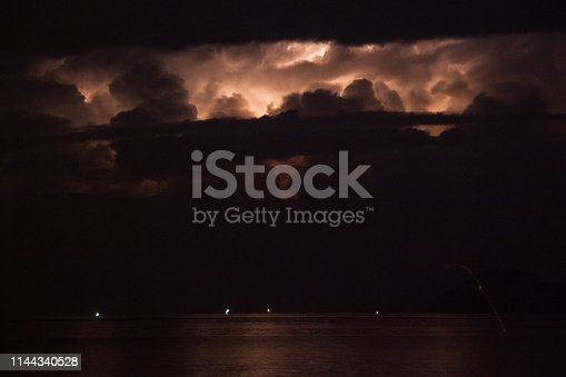 1144340539 istock photo Lightning view by the shore during night time 1144340528