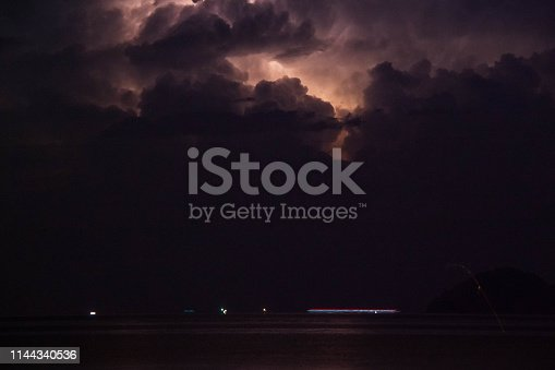 istock Lightning view by the shore during night time 1144340536