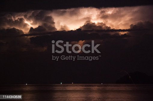 istock Lightning view by the shore during night time 1144340539