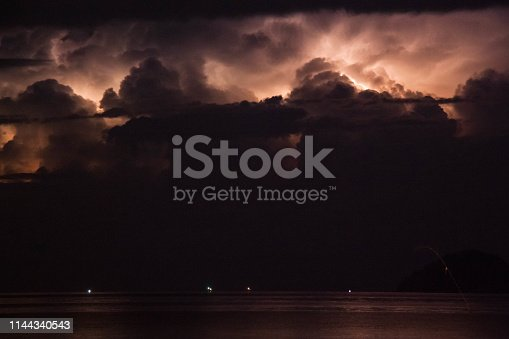 istock Lightning view by the shore during night time 1144340543