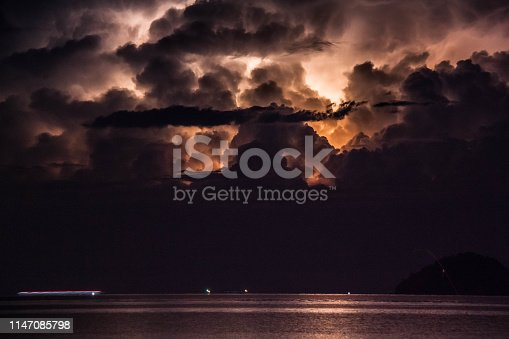1155214300istockphoto Lightning view by the shore during night time 1147085798