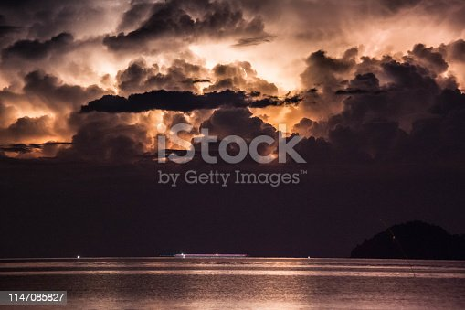 istock Lightning view by the shore during night time 1147085827