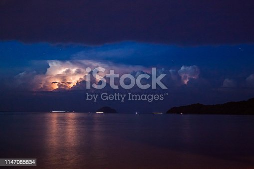 1155214300istockphoto Lightning view by the shore during night time 1147085834