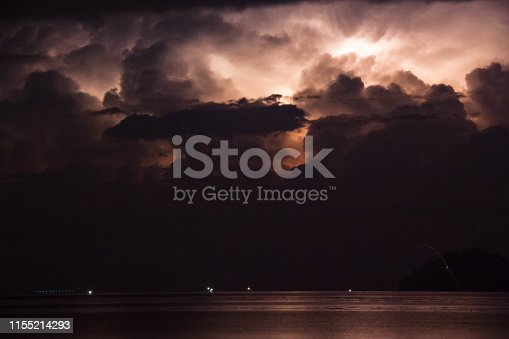 1144340539 istock photo Lightning view by the shore during night time 1155214293