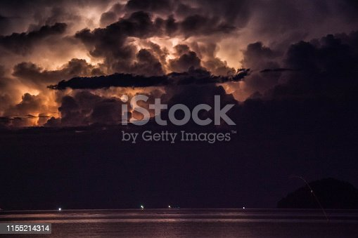 1155214300istockphoto Lightning view by the shore during night time 1155214314