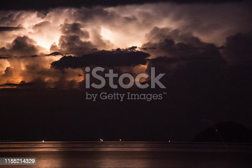 istock Lightning view by the shore during night time 1155214329