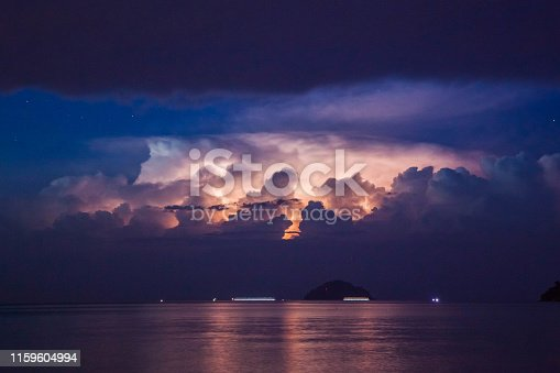 1155214300istockphoto Lightning view by the shore during night time 1159604994
