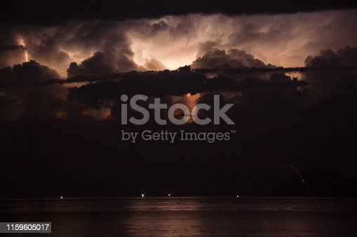 istock Lightning view by the shore during night time 1159605017