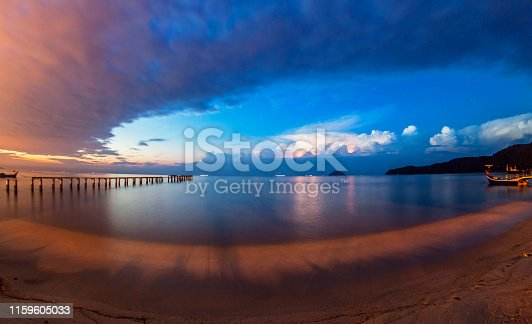 istock Lightning view by the shore during night time 1159605033
