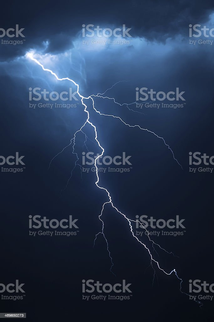 Lightning with dramatic cloudscape stock photo