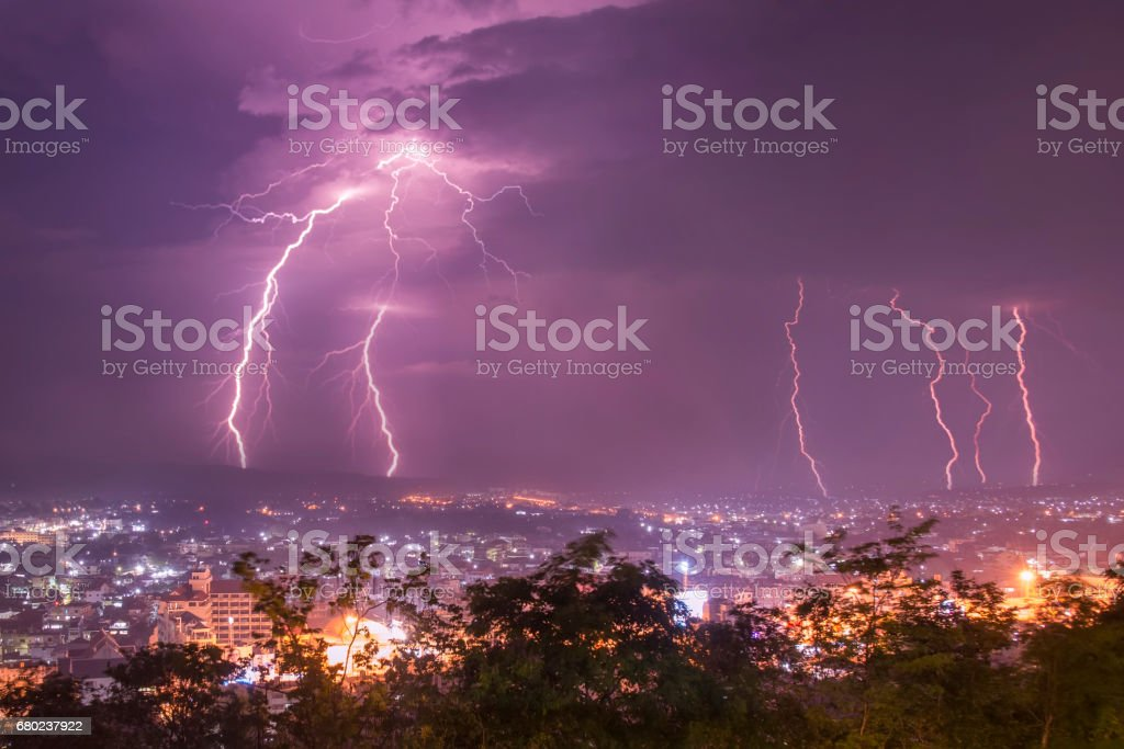Lightning with dramatic clouds.Night thunder-storm over city stock photo