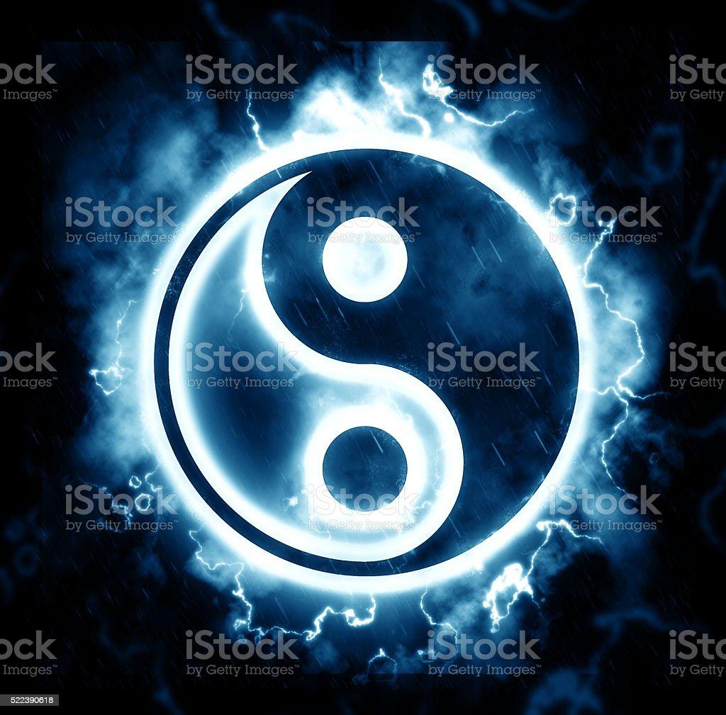 Lightning yin-yang sign stock photo