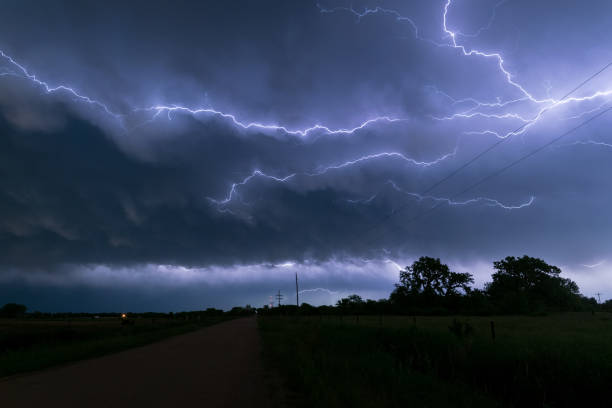 A lightningbolt creeps through the clouds over northeastern Nebraska An active thunderstorm complex moved over Nebraska in the afternoon and evening hours. At the back of this system a lot of these so called `anvil crawlers` could be seen. extreme weather stock pictures, royalty-free photos & images