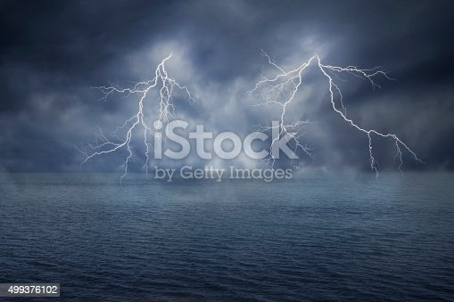 503731700 istock photo lightnings in dark sky and sea 499376102