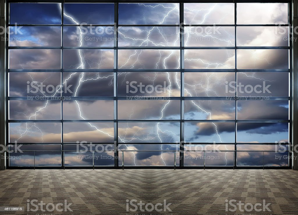 lightnings in stormy Sky with dark clouds and rain stock photo