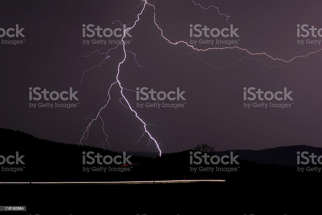 Lightnings in the dark royalty-free stock photo