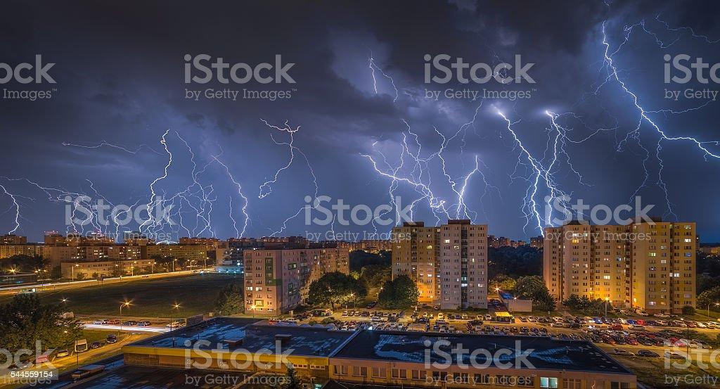 Lightnings Over Housing Estate stock photo