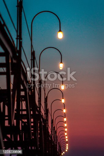 177362898 istock photo Lights along the South Haven pier during blue hour 1223239596