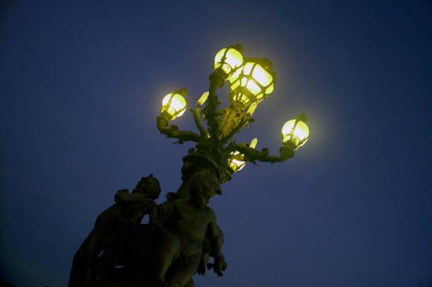 lights and Sculptures of Le Pont Alexandre III stock photo