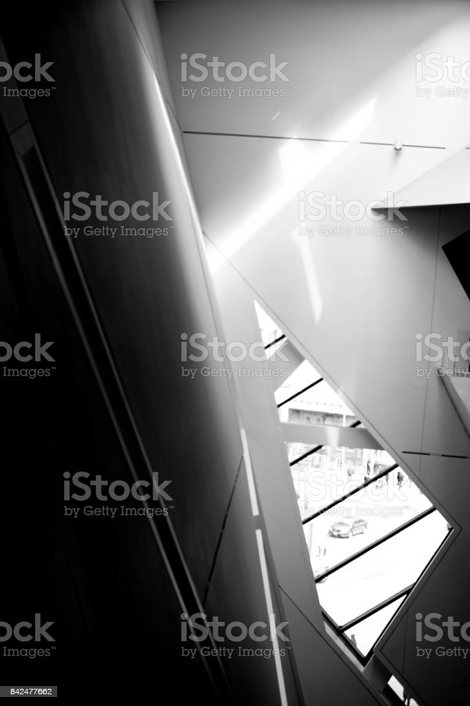 lights and shadows in a futuristic interior stock photo
