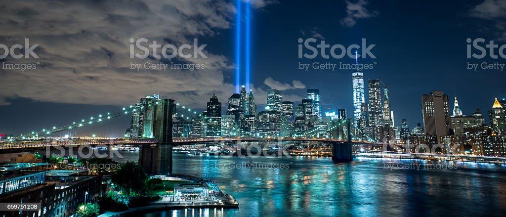 9/11 Lights and the Brooklyn Bridge - Masterpiece stock photo