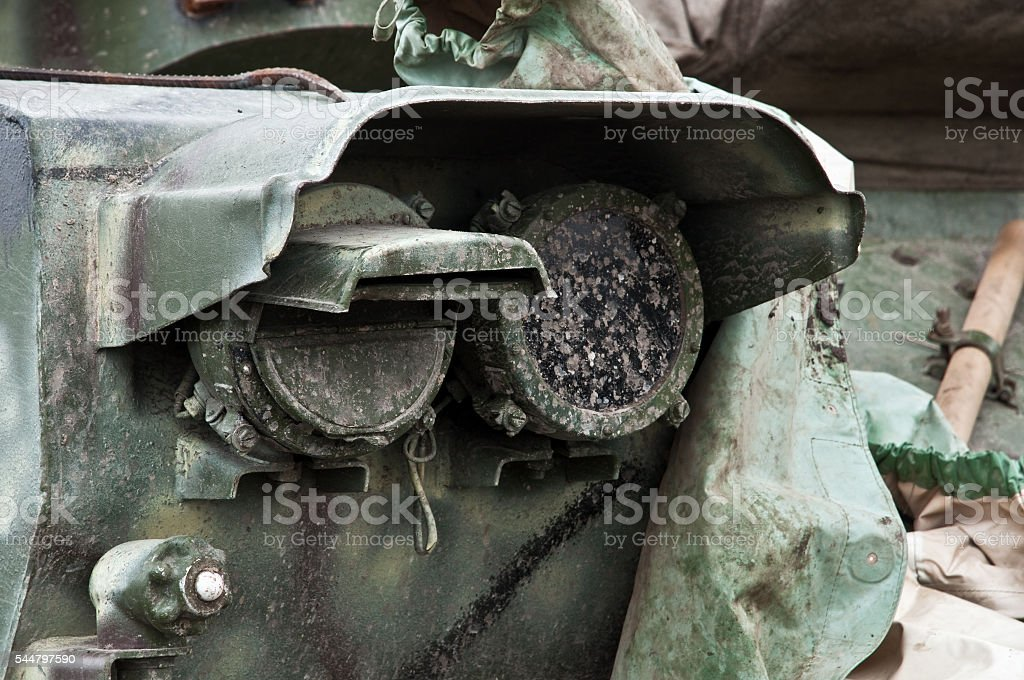 lights armored personnel carriers after the march stock photo