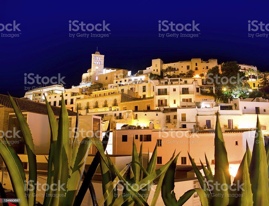 Lights at Ibiza Dalt Vila downtown night stock photo