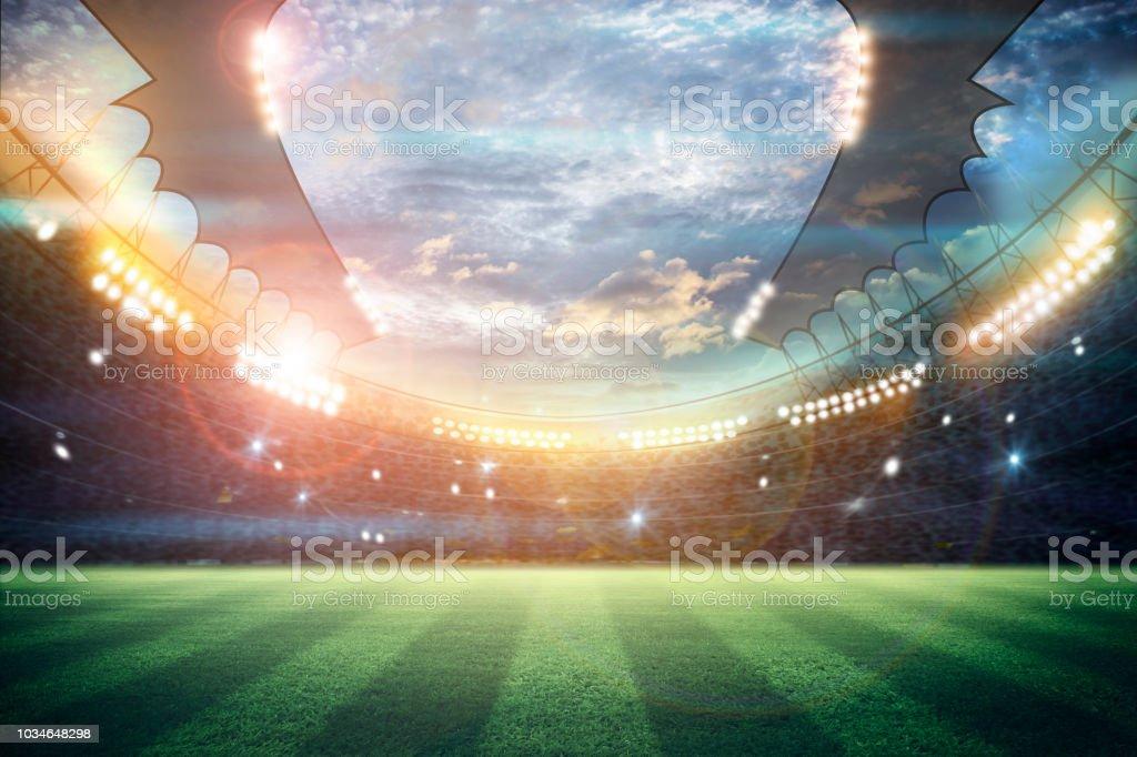 Lichter In Der Nacht Und Fussball Stadion 3drendering