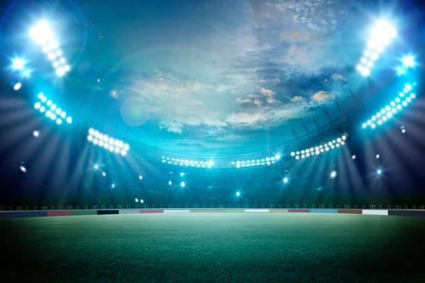 lights at night and stadium 3d render stock photo