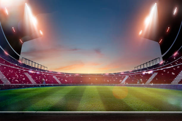lights at night and stadium. Empty night grand soccer arena in the lights stock photo