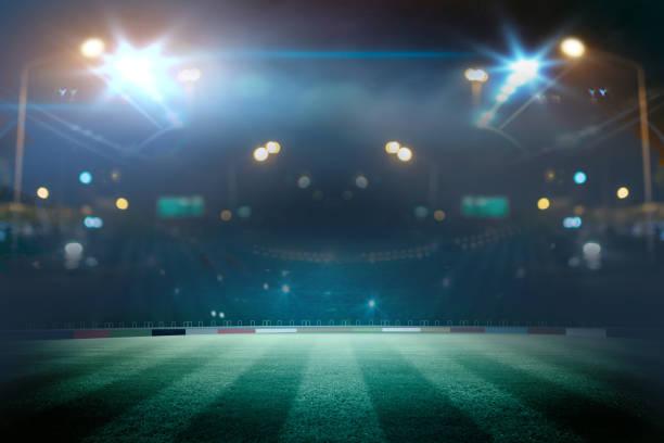 lights at night and stadium. Mixed photos stock photo