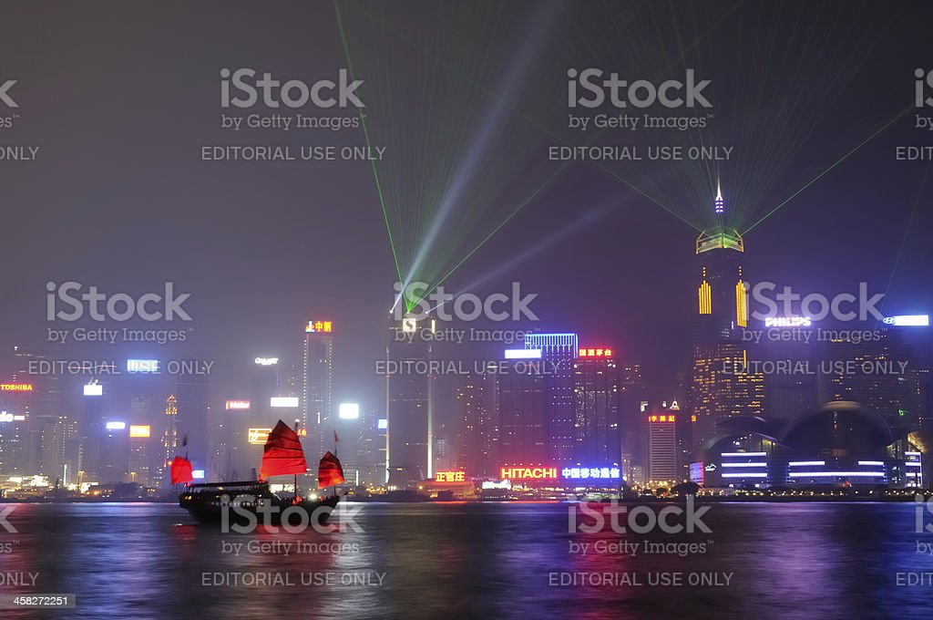 Lights at Victoria Harbor royalty-free stock photo