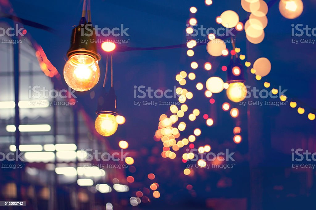 Lights decoration Event festival and Christmas lights outdoor stock photo
