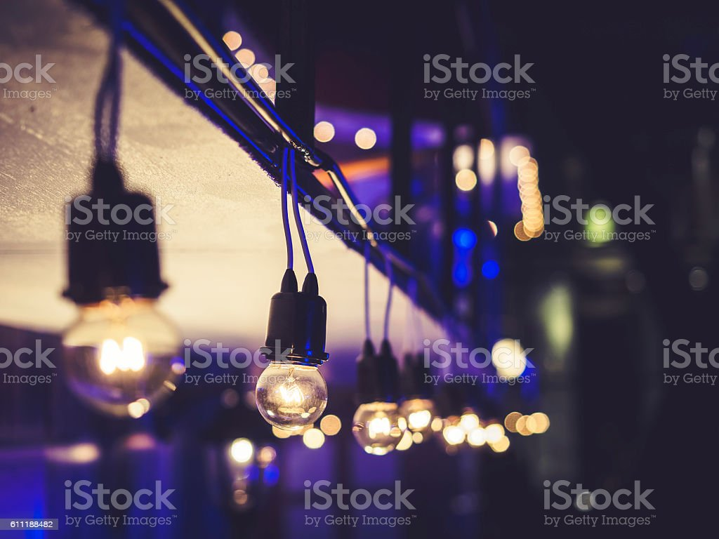 Lights decoration Event Festival outdoor Night party stock photo
