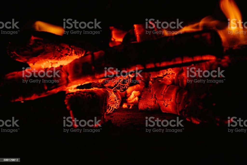 lights fire flames in the night stock photo