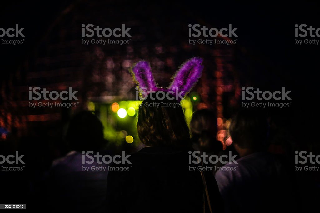 Lights, happiness and party stock photo