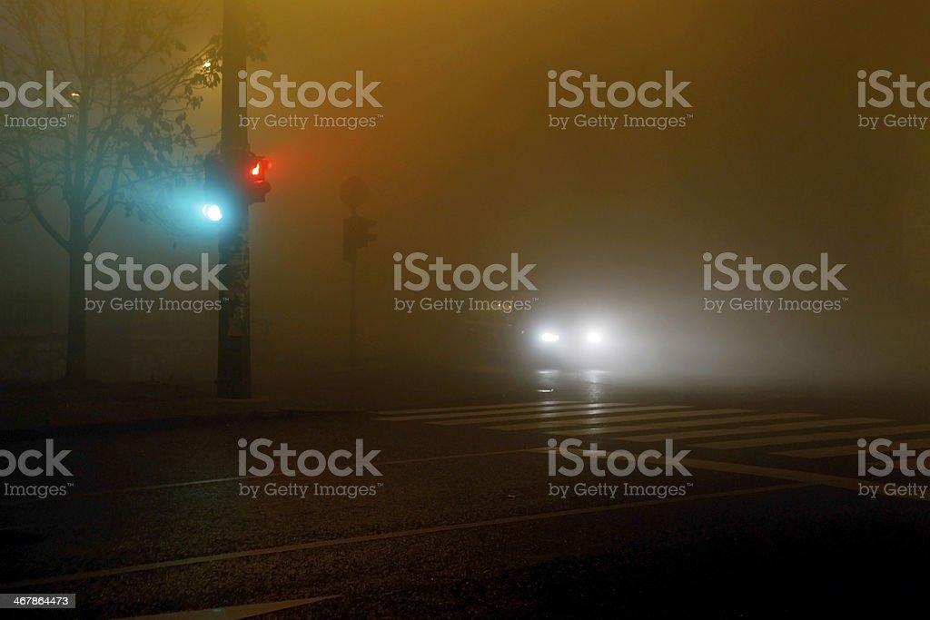 Lights in fog stock photo