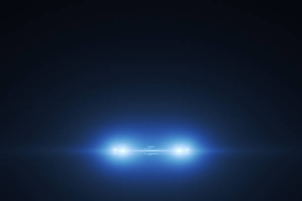 Lights Of Car Lights Of Car. 3D Render headlight stock pictures, royalty-free photos & images