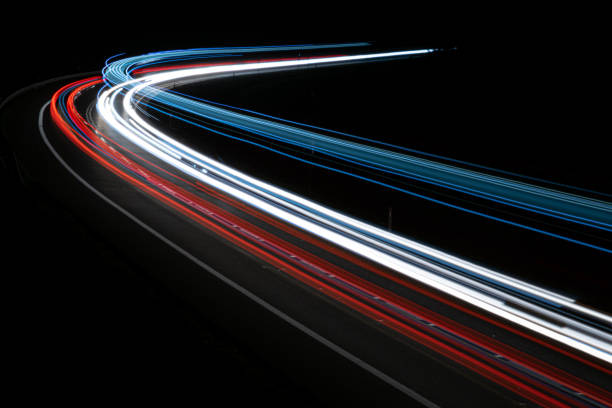 lights of cars with night. Long exposure lights of cars with night. Long exposure long exposure stock pictures, royalty-free photos & images