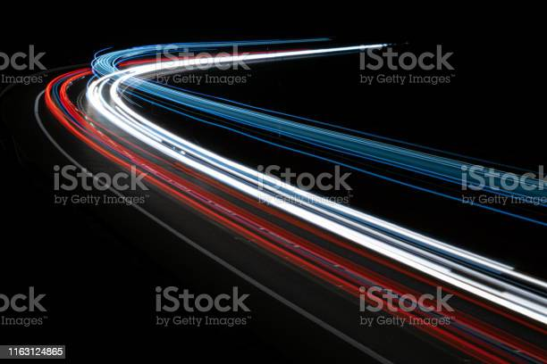 Photo of lights of cars with night. Long exposure