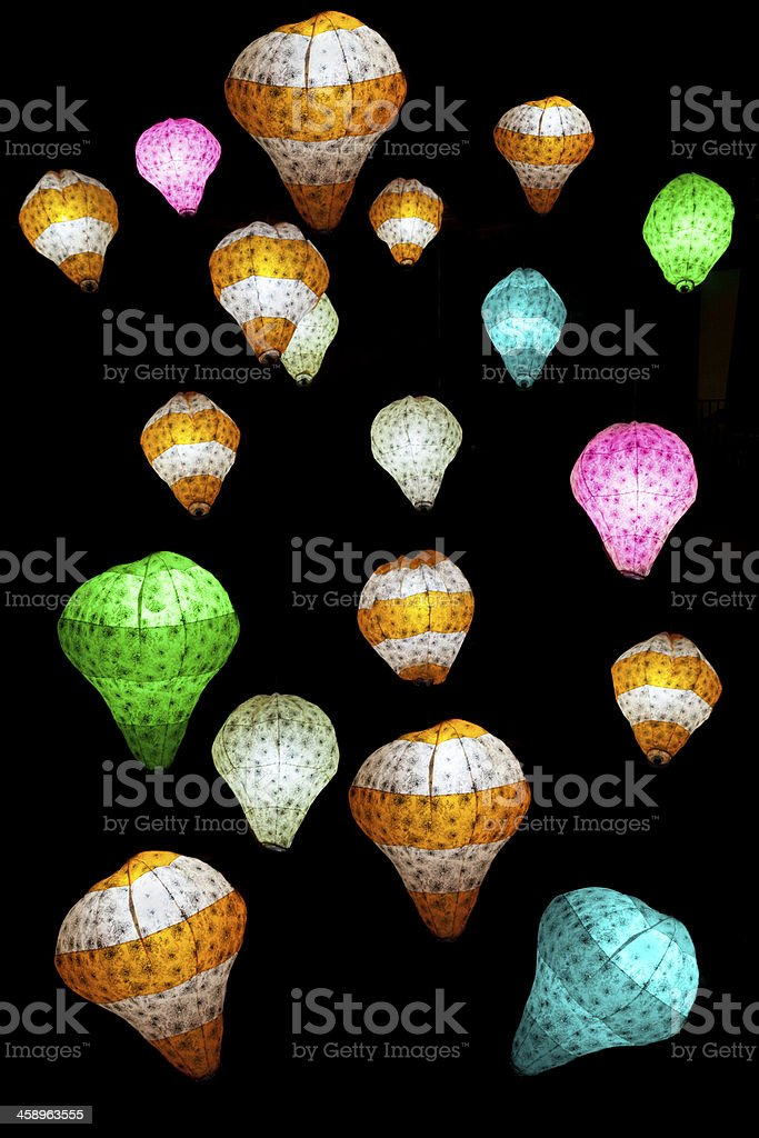 Lights of different colors in the dark royalty-free stock photo