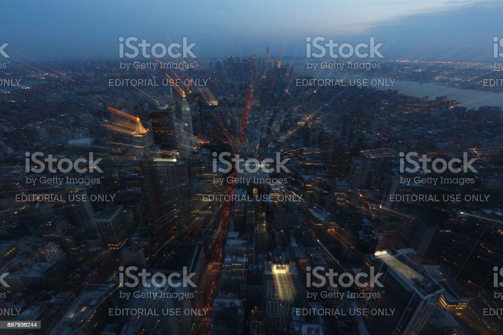 Lights of New York. America, New York City - May 13, 2017 stock photo