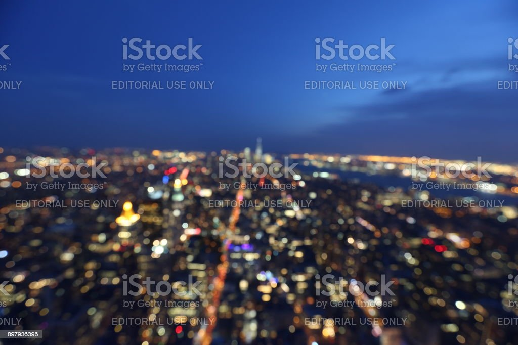 Lights of New York City in the evening. America, New York City - May 13, 2017 stock photo