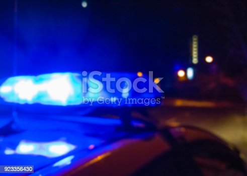 904615574 istock photo Lights of police car in night time, crime scene. Night patrolling the city, criminal investigation. Abstract blurry image. 923356430