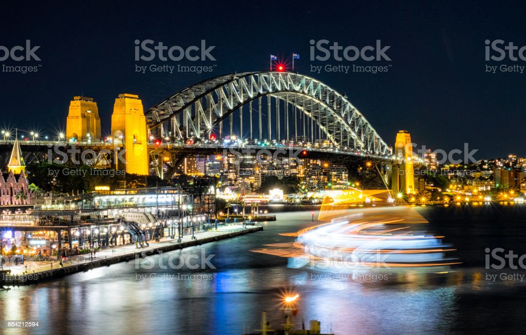Lights Of Sydney's Circular Quay At Night royalty-free stock photo