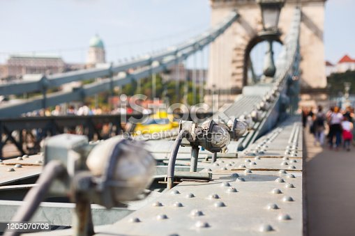lights of the chain bridge in Budapest close-up. Bridge details by day